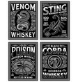 vintage whiskey label t-shirt graphic set vector image vector image