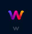 w monogram rainbow ribbon origami logo web ui vector image