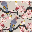 Waxwing on the cherry seamless vector image