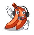 with headphone banana merah in the shape cartoon vector image vector image