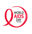 world aids day circle frame with red ribbon vector image vector image