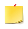 Yellow note with red pin isolated on white vector image vector image
