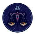 Zodiac sign Libra on night starry sky background vector image
