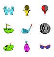 golf field icons set cartoon style vector image