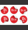 10 percent off red paper sale stickers vector image