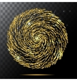 Abstract Bright Falling gold spiral Star - vector image