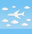 aircraft in blue sky flight airplane vector image