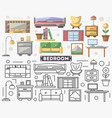 bedroom furniture set in flat style vector image vector image