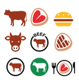 Beef meat cow icon set vector image vector image
