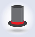 black top hat cylinder with red ribbon flat style vector image