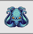 blue octopus logo mascot vector image vector image