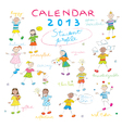 calendar 2013 kids cover vector image