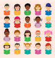 children different nationality reading book vector image vector image