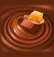 chocolate background swirl with caramel vector image vector image