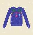 christmas hand drawn sweater with christmas vector image vector image