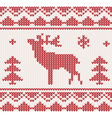 christmas reindeer knitted background vector image vector image