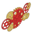 color gears on white background vector image vector image