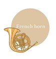 colored french horn in hand-drawn style vector image vector image