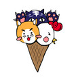 cute cat dog chicken ice cream vector image