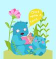 cute teddy bear and bear cub reading fairy tale vector image vector image