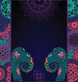 Dark background with elephant and mandalas vector image vector image