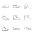 designer shoes icons set outline style vector image