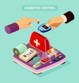 diabetes control isometric composition vector image vector image