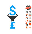 dollar pound conversion filter icon with lovely vector image vector image