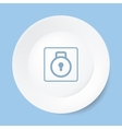 Empty white plate with lock vector image vector image