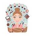 girl make-up artist on blue background vector image