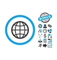 Globe Flat Icon with Bonus vector image vector image