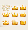 golden crowns logo or royal headdress icon vector image vector image