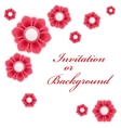 Greeting card or background with red flowers vector image