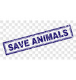 grunge save animals rectangle stamp vector image vector image