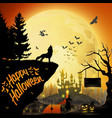 halloween night background with roaring wolf vector image vector image