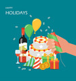 happy holidays flat style design vector image vector image