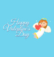 happy valentines day angelic child with heart vector image vector image