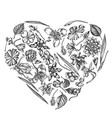 heart floral design with black and white ylang vector image