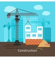 House construction with building crane vector image