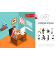 isometric business colorful concept vector image