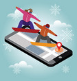 isometric man and woman hav boarding in vector image