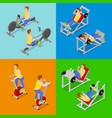 isometric people at the gym sportsmen workout vector image