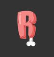 letter r meat font pork and bone alphabet sign vector image vector image