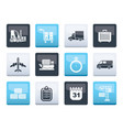 logistics shipping and transportation icons vector image