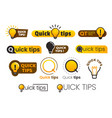 logo quick tips yellow lightbulb icon with quicks vector image vector image