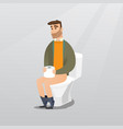 man suffering from diarrhea or constipation vector image vector image