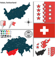 Map of Valais vector image vector image