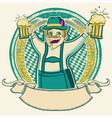 Oktoberfest Vintage label with man and glasses of vector image