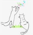 playing cats drawing vector image vector image