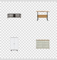 realistic cupboard furniture worktop and other vector image vector image